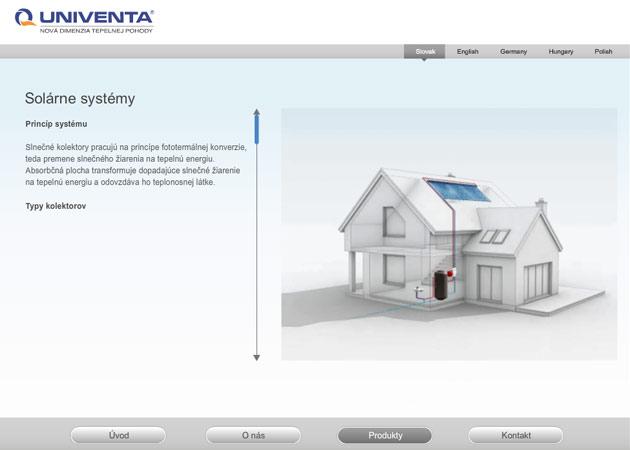 Produktová podstránka na solárne sýstémy spoločnosti