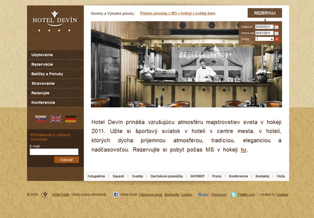 Finálny dizajn úvodnej stránky hotela Devín
