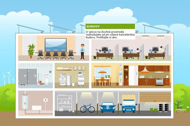 Grafické riešenie Ekokancelárie šetrnej k životnému prostrediu.