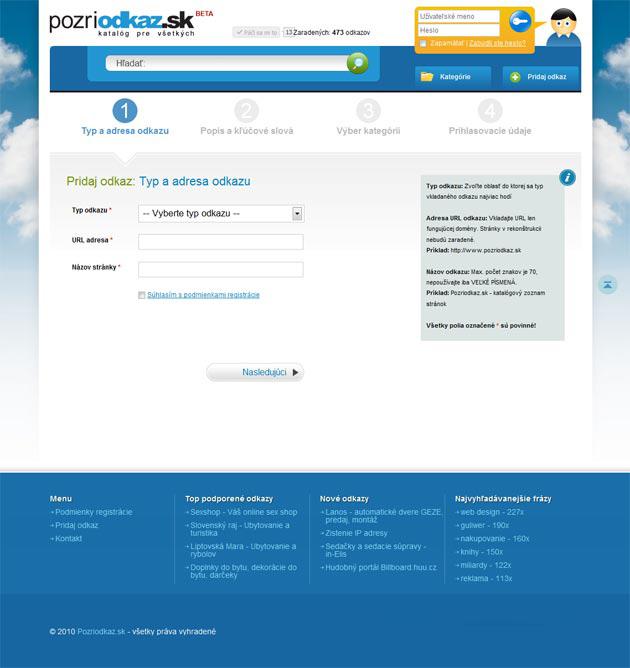 Podstránka na registráciu nového odkazu v katalógu